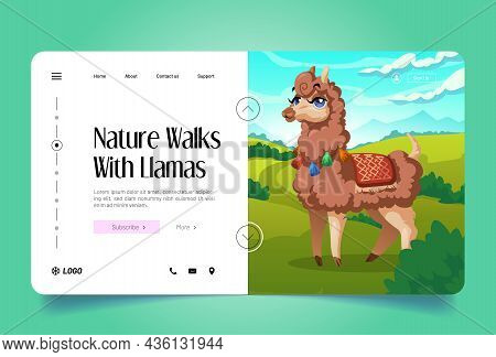 Nature Walks With Llamas Banner. Vector Landing Page With Cartoon Illustration Of Cute Alpaca On Gre