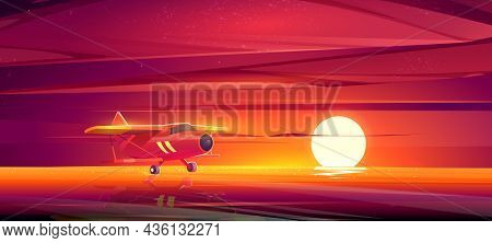 Small Airplane At Sunset Ocean Landscape, Crop Duster Plane Flying Low Over Sea Surface In Red Dusk
