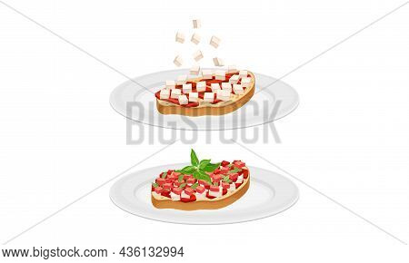 Bruschetta Cooking Set. Toast Bread Slices With Tomato, Cheese And Meat Ingredients Vector Illustrat
