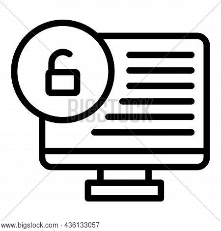 Unlock Pc Icon Outline Vector. Code Sms. Login Verify