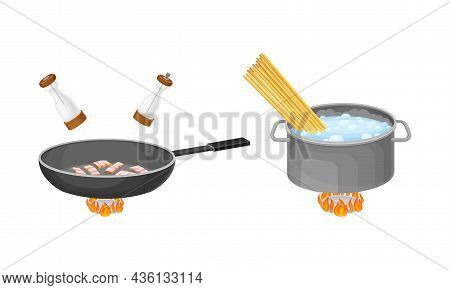 Pasta Cooking Process Set. Boiling Pasta And Frying Ham In Pan Vector Illustration