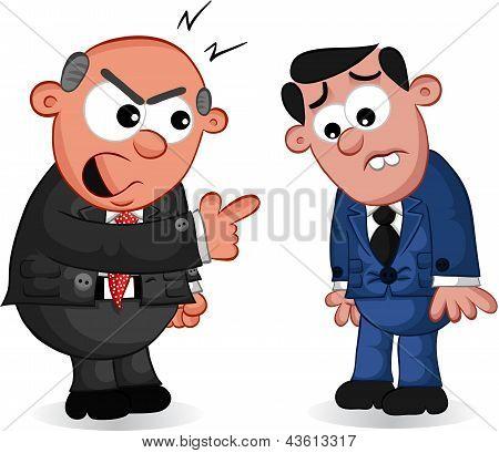 Business Cartoon - Boss Man Shouting At Employee