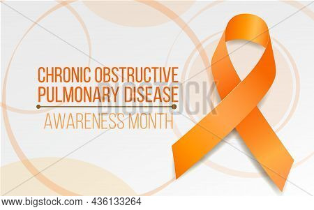 Chronic Obstructive Pulmonary Disease Copd Awareness Month Concept. Banner With Orange Ribbon Awaren