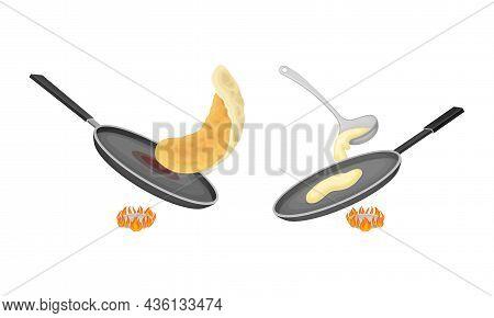 Pancakes Cooking In Frying Pan On Burner Set Vector Illustration On White Background