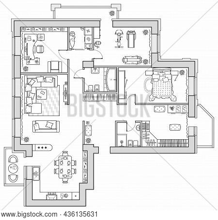 Apartment Plan With Furniture In Top View. Layout Of House Standard Set Of Icons For Floor Plan. Int