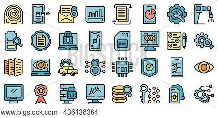 Technical Overview Icons Set Outline Vector. Camera Specification. Dual Memory