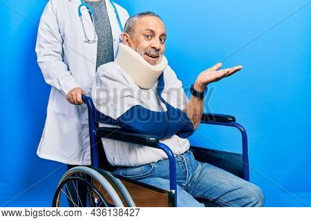 Handsome senior man with beard sitting on wheelchair with neck collar pointing aside with hands open palms showing copy space, presenting advertisement smiling excited happy