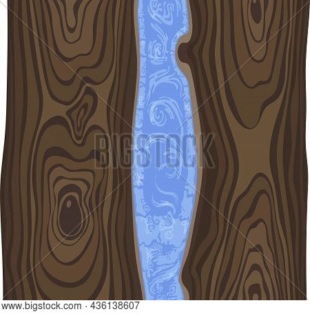 Illustration Of A Wooden Table Top With Epoxy Resin. Vector Image For Halloween Celebration, Ready T