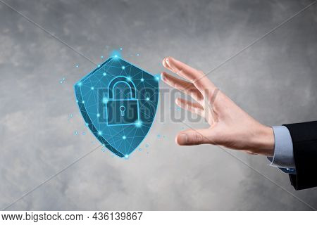 Businessman Hold Low Poly Polygon Shield With A Padlock Icon.secure Access System Concept.business F