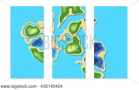 Set Of Top View Landscape Map Banner With In Paper Cut Style. Aerial View 3d Cards Collections With