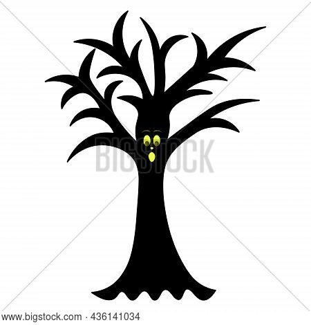 Magic Tree. Silhouette. Surprised Facial Expression. Oak With Crooked Branches. Vector Illustration.