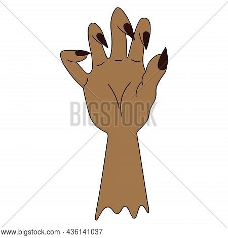 The Stump Of A Dead Man's Hand. Curved Fingers With Sharp Claws. Colored Vector Illustration. Isolat