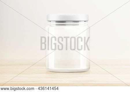 Empty glass jar, food product packaging with design space