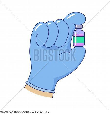 Hand In Blue Medical Glove Holding Bottle Of Medicine. Laboratory Sample In Glass Vial. Vaccination,