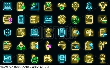 Vacancy Icons Set Outline Vector. Job Cv. Hiring Portfolio