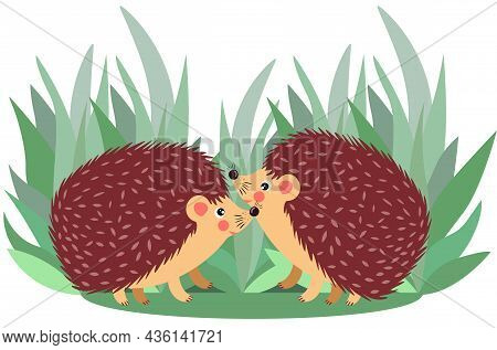 Scalable Vectorial Representing A Couple Of Hedgehog On Forest, Element For Design, Illustration Iso