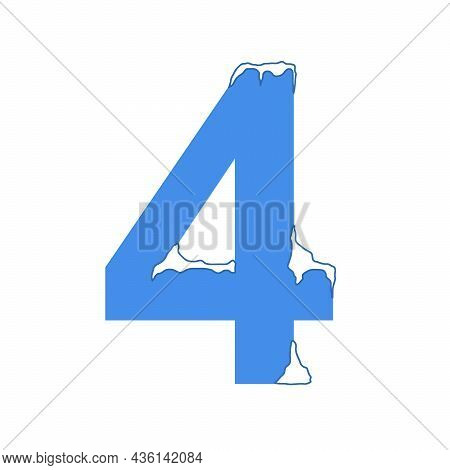Icy Number Four, 4  With A Snow Cap. Decorative Winter Font.