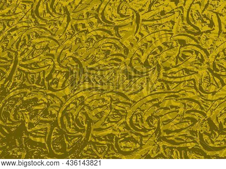 Gold Rough Metallic Texture With Wrinkled Pattern - Colored Abstract Illustration, Vector