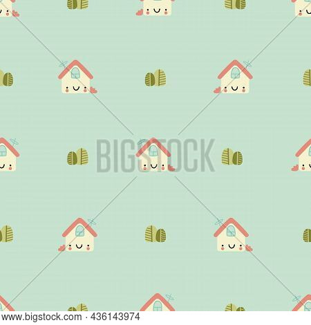 Cute Houses Vector Seamless Pattern. Buildings With Funny Faces And Bushes On Blue Background. Child