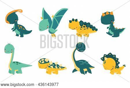 Set Of Cute Hand Drawn Dinosaurs On A White Background. Baby Dinosaurs In Cartoon Style, Funny Chara