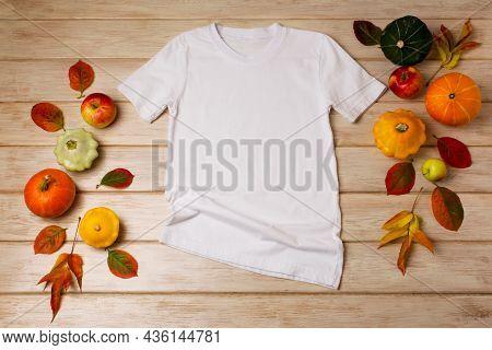 Unisex White T-shirt Mockup With Fall Decor