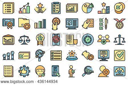 Benchmark Testing Icons Set Outline Vector. Aspekt Benchmarking. Development Expertise