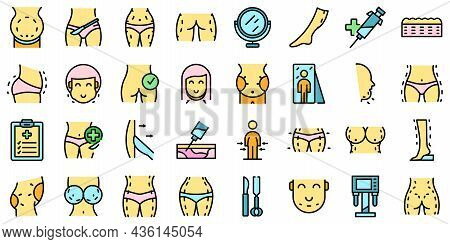 Liposuction Icons Set Outline Vector. Women Waist. Belly Body