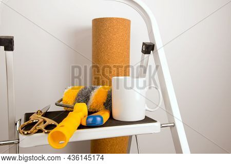 White Coffee Mug Mockup With Home Repair Stepladder