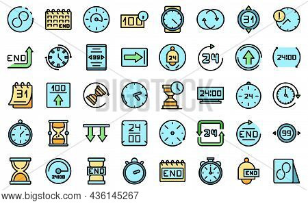 Duration Icons Set Outline Vector. Future Past. Present Time