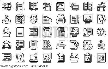 Homework Help Icons Set Outline Vector. Bonding Activity. Child Help