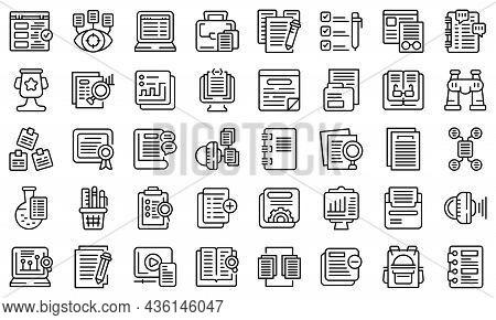 Case Study Icons Set Outline Vector. Proposal Platform. Study Analysis