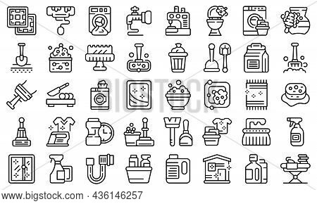 Household Occupations Icons Set Outline Vector. Clean Surface. Sanitary Hygiene