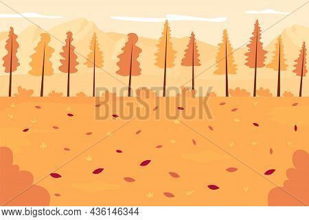 Autumn Forest Flat Color Vector Illustration. Seasonal Landscape. Panoramic Autumnal Countryside. Sc