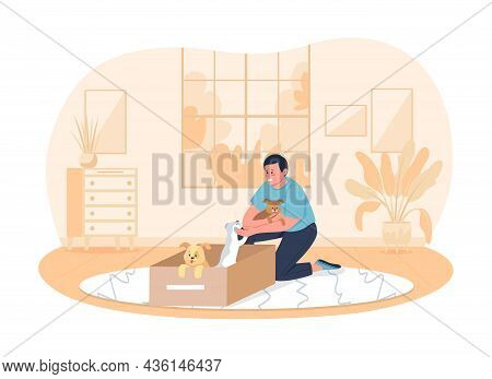 Adopting Dogs 2d Vector Isolated Illustration. Happy Man Sitting On Floor With Puppies Flat Characte