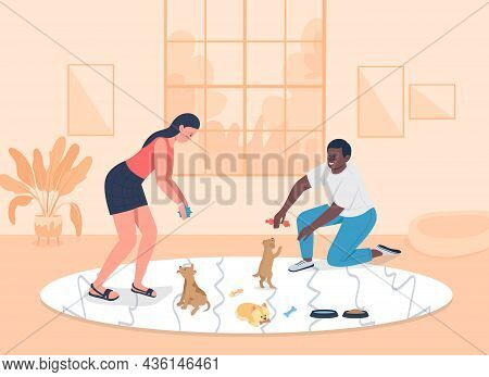 Adopting Puppies Flat Color Vector Illustration. Woman And Man Playing With Rescued Dogs In Apartmen