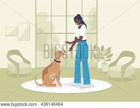 Training Domestic Animal Flat Color Vector Illustration. Owner Teaching Labrador Tricks. Girl With P