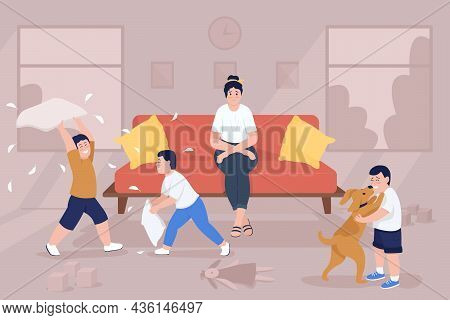 Stress Of Parenting Flat Color Vector Illustration. Children Playing In Living Room. Anxious Mom On