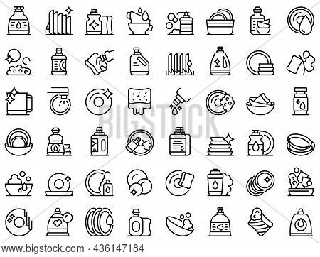 Dishwashing Detergents Icons Set Outline Vector. Crockery Bowl. Ceramic Detergent