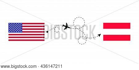 Flight And Travel From Usa To Austria By Passenger Airplane. Airplane Route And Country Flags. Trave