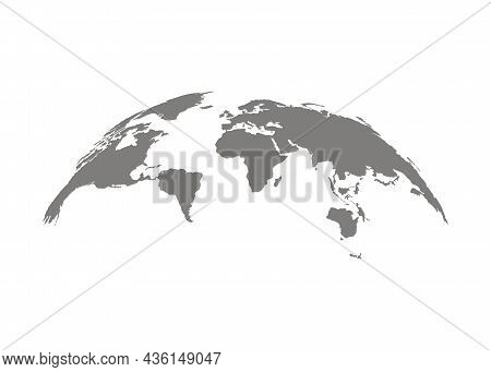 World Map Earth, International Globe, Grey Template. Circle Earth. Country Travel Worldwide Concept.