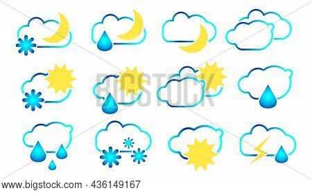 Linear Set Of Symbols, Signs For Weather Forecast.