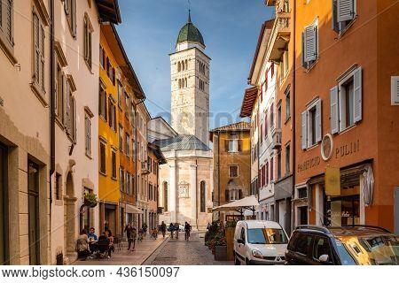 Trento, Italy - October 25, 2019: Beautiful italian architecture of Trento city in South Tyrol, Italy.