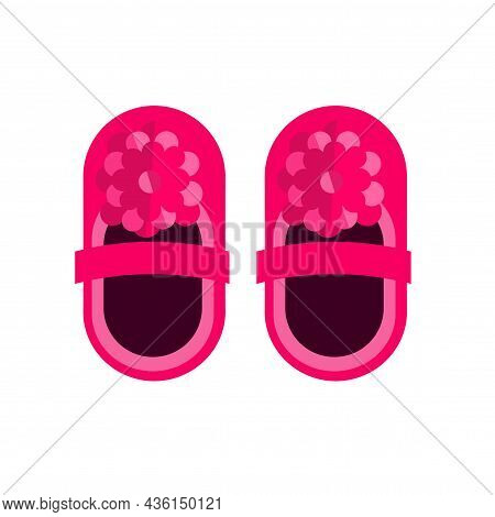 Baby Pink Kid Little Shoes Vector Or Newborn Booties Isolated Flat Cartoon Illustration Clipart