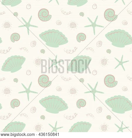 Delicate Childish Nautical Pattern In Pastel Green Colors. Vector Illustration. Design For Childrens