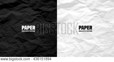 Black And White Crumpled Paper Texture Pattern. Rough Grunge Old Blank. Vector Abstract Background.