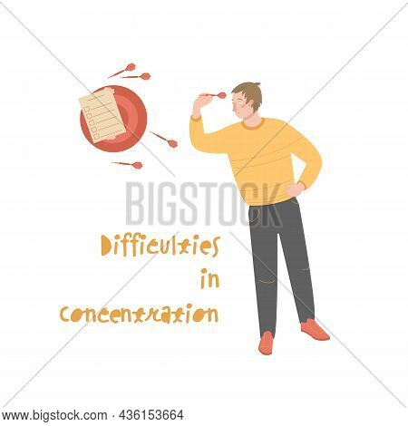 Difficulty In Concentration Design. Cartoon Character Illustration
