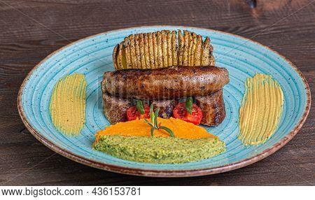 Sausage Beef Potato Broccoli Mash Mustard Rosemary