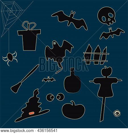 Set Of Silhouettes On The Theme Of Halloween. Black Silhouettes Of Items For The Holiday. Ghost, Pum