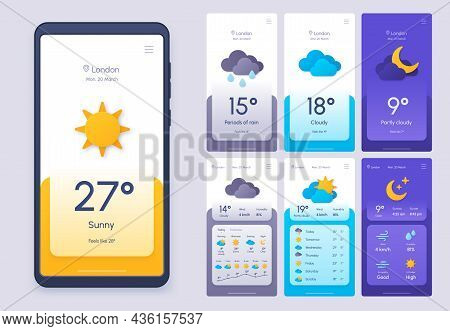 Daily Weather Forecast Phone App In 3d Paper Cut Style. Climate And Atmosphere Widget Template For S