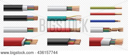 Realistic Electric Power Coaxial Cables With Copper Wire. 3d Intertwined Cable With Plastic Safety J